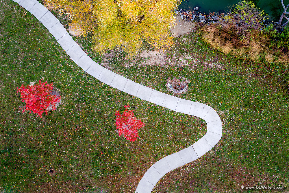 Aerial photo looking down on fall pathway.