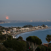 Moonrise over Malibu, California.