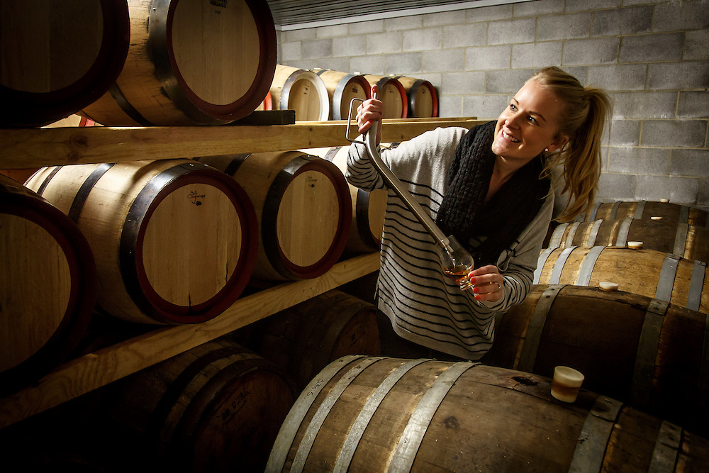 Jane Overeem inspects barrels of Overeem whisky at Old Hobart Distillery in Hobart, Tasmania, August 25, 2015. Gary He/DRAMBOX MEDIA LIBRARY