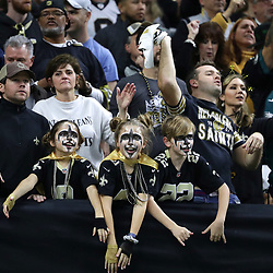 Jan 13, 2019; New Orleans, LA, USA; New Orleans Saints fans react during the second quarter of a NFC Divisional playoff football game against the Philadelphia Eagles at Mercedes-Benz Superdome. Mandatory Credit: Derick E. Hingle-USA TODAY Sports