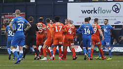 Luton Town players surround the match referee before Ryan Tafazolli of Peterborough United is sent off - Mandatory by-line: Joe Dent/JMP - 19/01/2019 - FOOTBALL - Kenilworth Road - Luton, England - Luton Town v Peterborough United - Sky Bet League One