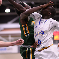 1st year guard Nigel Warden (9) of the Regina Cougars during the Men's Basketball home game on November 25 at Centre for Kinesiology, Health and Sport. Credit: Casey Marshall/Arthur Images