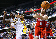 April 01, 2011; Indianapolis, IN, USA; Indiana Pacers forward Danny Granger (33) and Milwaukee Bucks center Andrew Bogut (6) watch the ball go out of bounds at Conseco Fieldhouse. Indiana defeated Milwaukee 89-88. Mandatory credit: Michael Hickey-US PRESSWIRE