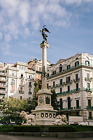 """NAPLES, ITALY - 24 NOVEMBER 2018: A view of Piazza dei Martiri in Naples, Italy, on November 24th 2018.<br /> <br /> My Brilliant Friend (Italian: L'amica geniale) is an Italian-American drama television miniseries based on the novel of the same name by Elena Ferrante. The series follows the lives of two perceptive and intelligent girls, Elena (sometimes called """"Lenù"""") Greco and Raffaella (""""Lila"""") Cerullo, from childhood to adulthood and old age, as they try to create lives for themselves amidst the violent and stultifying culture of their home – a poor neighborhood on the outskirts of Naples, Italy. My Brilliant Friend is a co-production between American premium cable network HBO and Italian networks RAI and TIMvision"""