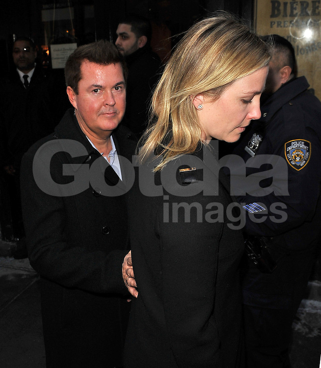 (UK RIGHTS ONLY) Former Spice Girl manager, Simon Fuller and his wife Natalie Swanston leaving a restaurant after Victoria Beckham fashion show in NYC, USA. 10/02/2013<br />