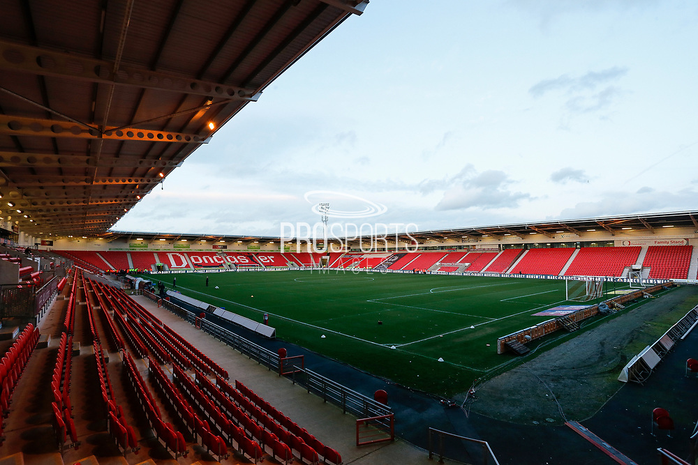 Doncaster Rovers Stadium before the EFL Sky Bet League 1 match between Doncaster Rovers and Barnsley at the Keepmoat Stadium, Doncaster, England on 15 March 2019.