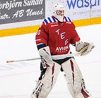 2020-01-11 | Umeå, Sweden:'A happy goalie Teg (30) Joakim Andersson after GWS in AllEttan during the game  between Teg and Piteå at A3 Arena ( Photo by: Michael Lundström | Swe Press Photo )<br /> <br /> Keywords: Umeå, Hockey, AllEttan, A3 Arena, Teg, Piteå, mltp200111