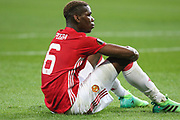 Paul Pogba Midfielder of Manchester United on floor during the UEFA Europa League Quarter-final, Game 1 match between Anderlecht and Manchester United at Constant Vanden Stock Stadium, Anderlecht, Belgium on 13 April 2017. Photo by Phil Duncan.