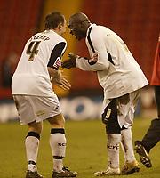 Photo: Aidan Ellis.<br /> Sheffield United v Swansea City. The FA Cup. 06/01/2007.<br /> Swansea's Kristian O'Leary celebrates at the end  with Adebayo Akinfenwa