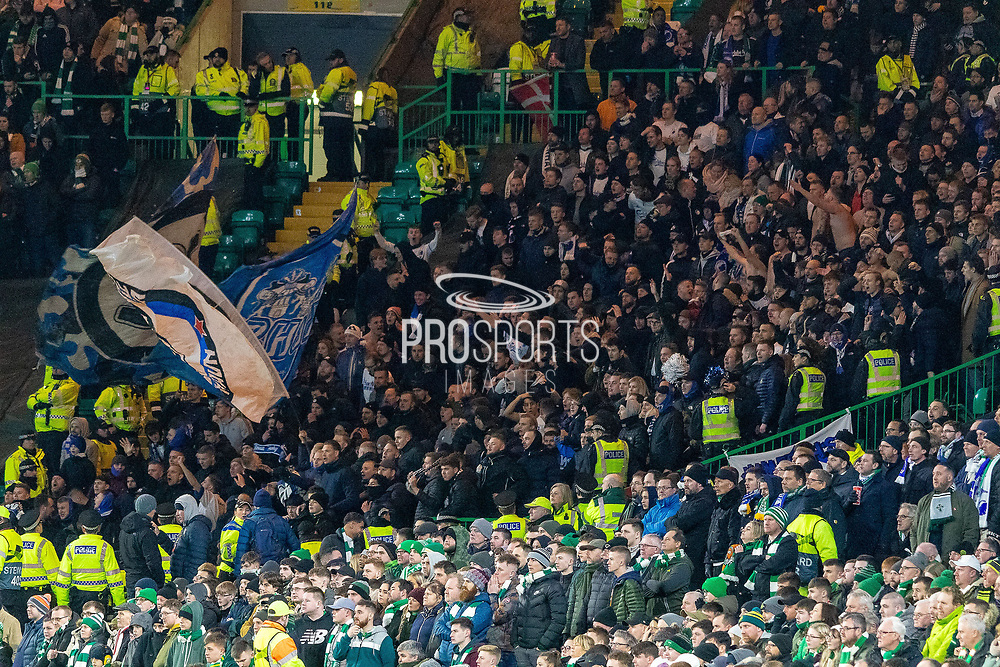 FC Copenhagen fans celebrate their 3rd goal during the Europa League match between Celtic and FC Copenhagen at Celtic Park, Glasgow, Scotland on 27 February 2020.