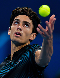 Pierre-Hugues Herbert of France serves to Dominic Thiem of Austria during their first round of ATP Qatar Open Tennis match at the Khalifa International Tennis Complex in Doha, capital of Qatar, on January 01, 2019. Herbert won 2-0  (Credit Image: © Nikku/Xinhua via ZUMA Wire)