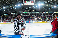 KELOWNA, CANADA - OCTOBER 27: Linesman Tim Plamondon stands at the bench on October 27, 2017 at Prospera Place in Kelowna, British Columbia, Canada.  (Photo by Marissa Baecker/Shoot the Breeze)  *** Local Caption ***