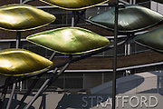 The new kinetic sculpture at Stratford Centre 'The Shoal' at the Straford Centre, east London, is made up of around 100 titanium clad 'leaves' mounted between 15 and 19 metres high on metal posts. Worth £13.5m, the Shoal is part of The Stratford Town Centre Public Realm Project, designed and manufacturered using 3D technology.