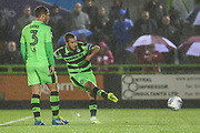 Forest Green Rovers Liam Noble(8) takes a free kick during the EFL Sky Bet League 2 match between Forest Green Rovers and Lincoln City at the New Lawn, Forest Green, United Kingdom on 12 September 2017. Photo by Shane Healey.