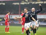 Thomas Konrad is congratulated by James McPake after putting Dundee 1-0 up -  Dundee v Aberdeen, William Hill Scottish FA Cup 4th round at Dens Park<br /> <br />  - &copy; David Young - www.davidyoungphoto.co.uk - email: davidyoungphoto@gmail.com