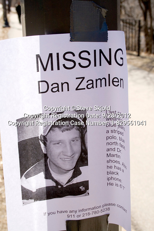 Poster for missing student who fell into Mississippi River and drowned. St Paul Minnesota MN USA