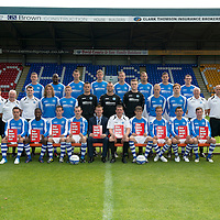 St Johnstone FC Season 2012-13....03.09.12<br /> Back row from left, Tam Scobbie, Gregory Tade, David McCracken, Jamie Adams; Frazer Wright, Rowan Vine, Gary Miller and David Robertson.<br /> Middle row from left, Jocky Peebles Asst Physio, Alec Cleland Coach, Tommy Campbell Youth Development Manager, Dr Duncan Goodall, Stevie May, Liam Caddis, Jonny Tuffey, Alan Mannus, Zander Clark, Steven Anderson, Liam Craig, Atholl Henderson Community Coach, Graham Kirk Sports Sciences and John Kerr Physio.<br /> Front row from left, Sean Higgins, Nigel Hasselbaink, Kevin Moon, Dave Mackay Captain, Steve Lomas Manager, Tommy Wright Asst Mananger, Murray Davidson Vice Captain, Chris Millar, Callum Davidson and Paddy Cregg.<br /> Picture by Graeme Hart.<br /> Copyright Perthshire Picture Agency<br /> Tel: 01738 623350  Mobile: 07990 594431