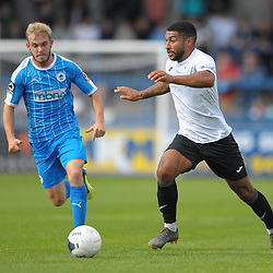 TELFORD COPYRIGHT MIKE SHERIDAN Ellis Deeney of Telford  during the National League North fixture between AFC Telford United and Chester FC at the New Bucks Head on Saturday, September 14, 2019<br /> <br /> Picture credit: Mike Sheridan<br /> <br /> MS201920-018