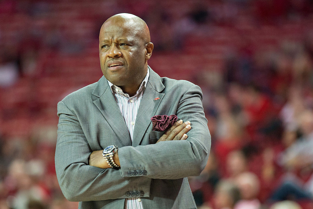 FAYETTEVILLE, AR - NOVEMBER 13:  Head Coach Mike Anderson of the Arkansas Razorbacks watches his team during a game against the Southern University Jaguars at Bud Walton Arena on November 13, 2015 in Fayetteville, Arkansas.  The Razorbacks defeated the Jaguars 86-68.  (Photo by Wesley Hitt/Getty Images) *** Local Caption *** Mike Anderson