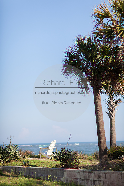 Adirondack Chair along the beachfront on Sullivan's Island, South Carolina.
