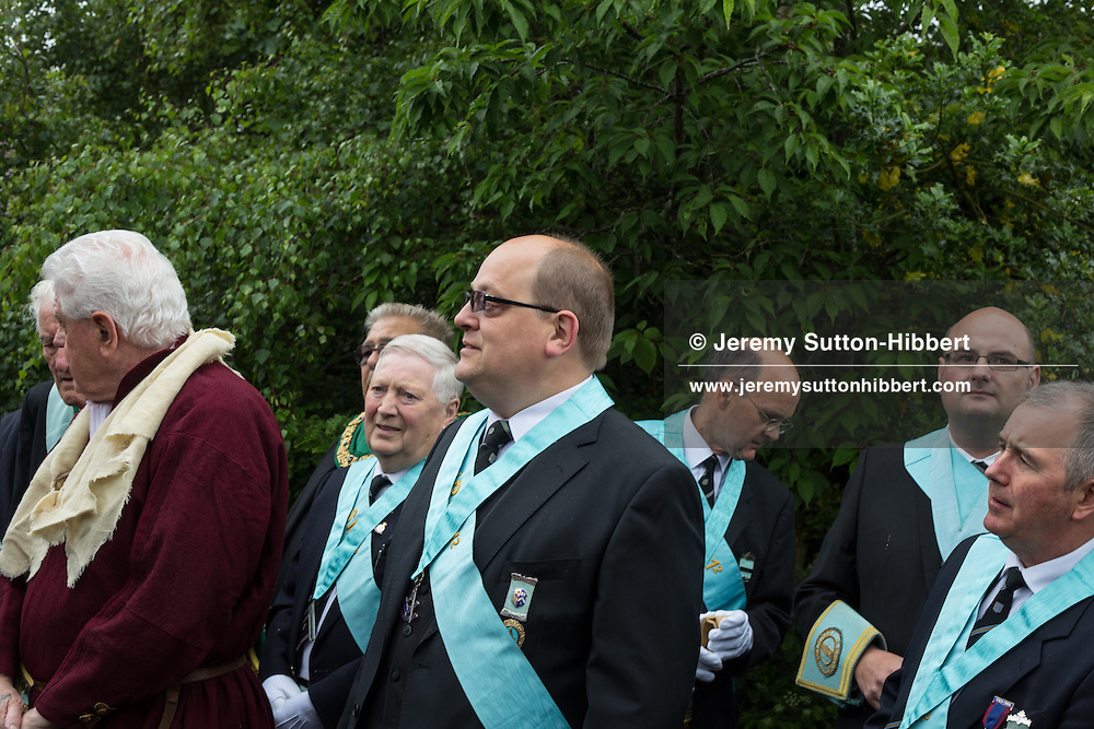 A stop during The Tour Of Ceremonies at the spot which marks the first Masonic Lodge of Melrose, claimed to be the oldest Lodge in Scotland, with Melrosian Sam Thomson being met by present days Masons of the No1 Melrose Lodge, during the Melrose Festival, in Newstead, Melrose, Scotland, Saturday 22nd June 2013. <br /> N55&deg;36.003'<br /> W2&deg;41.658'