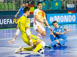 Adolfo of Spain and Dinmukhambet Suleimenov of Kazakhstan during futsal match between Kazakhstan and Spain in Semifinals of UEFA Futsal EURO 2018, on February 8, 2018 in Arena Stozice, Ljubljana, Slovenia. Photo by Ziga Zupan / Sportida