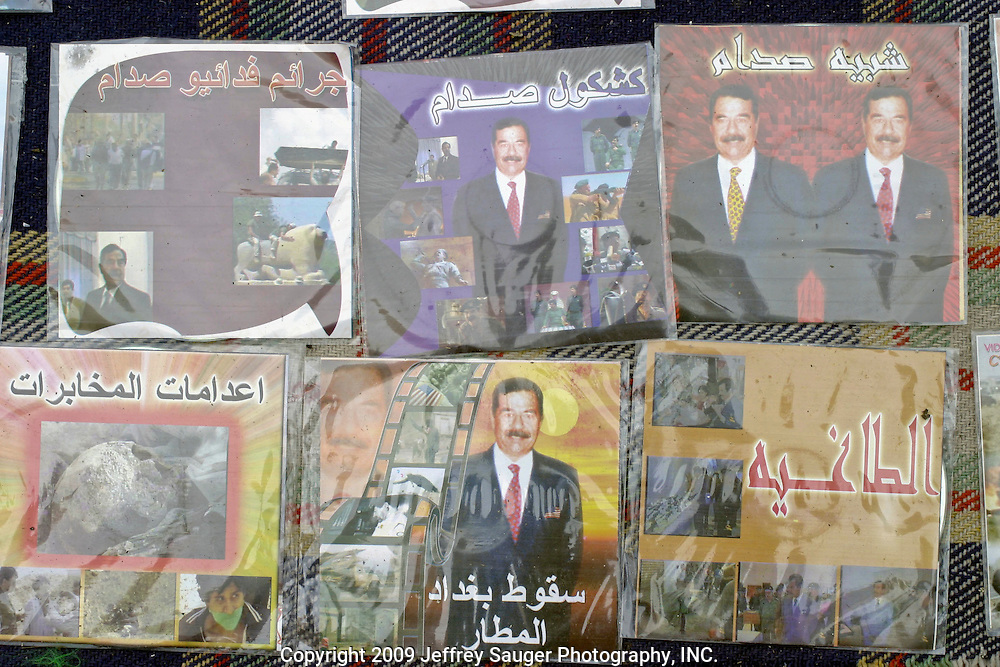 Video CD's with jokes about Saddam Hussein, his family, and even sequences with torture carried out by Saddam are for sale at a basteya, the small individual stands lining the streets and markets, in Karbala, Iraq, Monday, July 21, 2003. These CD's would have never been for sale openly while Iraq was under the grip of Saddam Hussein's Baath Party.