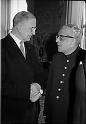 02/08/1962<br /> 08/02/1962<br /> 02 August 1962<br /> Indian Ambassador presents credentials at Aras an Uachtarain. New Indian Ambassador Mr Mohammedali Currim Chagha presented his letters of Credence to President Eamon de Valera. Picture shows President de Valera chatting with the new ambassador.