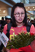 BEIJING, CHINA - AUGUST 16: <br /> <br /> Bronze medalist Fu Yuanhui of Chinese Swimming Team arrives at the airport after competing in the Rio 2016 Olympic Games on August 16, 2016 in Beijing, China.<br /> ©Exclusivepix Media