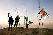Adult men enjoy the competitive sport of kite-flying at Tapeii-e-Maranjan, a popular hilltop venue for the leisure sport, southeast of the city's center.