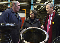 © Licensed to London News Pictures. 25/02/2013. Eastleigh, UK. Liberal Democrat Parliamentary Candidate for Eastleigh, Mike Thornton (Pink tie) and Catherine Bearder, (grey coat) Liberal Democrat Member of the European Parliament for the South East of England talk to an engineer whilst on a visit to Arlington Fleet Services, based at the historic Eastleigh Railway Works site. Today 25th February 2013. Photo credit : Stephen Simpson/LNP