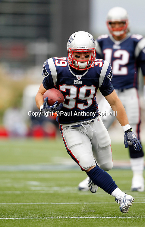 New England Patriots running back Danny Woodhead (39) runs the ball during the NFL regular season week 3 football game against the Buffalo Bills on September 26, 2010 in Foxborough, Massachusetts. The Patriots won the game 38-30. (©Paul Anthony Spinelli)