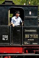 DEU, Germnay, Ruhr area, Bochum, railway museum in the district Dahlhausen, old steam locomotive, locomotive-driver...DEU, Deutschland, Ruhrgebiet, Eisenbahnmuseum im Stadtteil Dahlhausen, alte Dampflokomotive, Lokfuehrer.