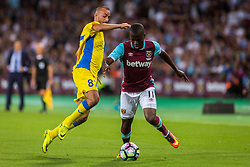 Enner Valencia of West Ham and Benjamin Morel of NK Domzale during 2nd Leg football match between West Ham United FC and NK Domzale in 3rd Qualifying Round of UEFA Europa league 2016/17 Qualifications, on August 4, 2016 in London, England.  Photo by Ziga Zupan / Sportida