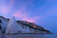 Apulia; beach; Gargano National Park; Gargano Peninsula; Italy; Pizzomuno limestone cliff; Vieste