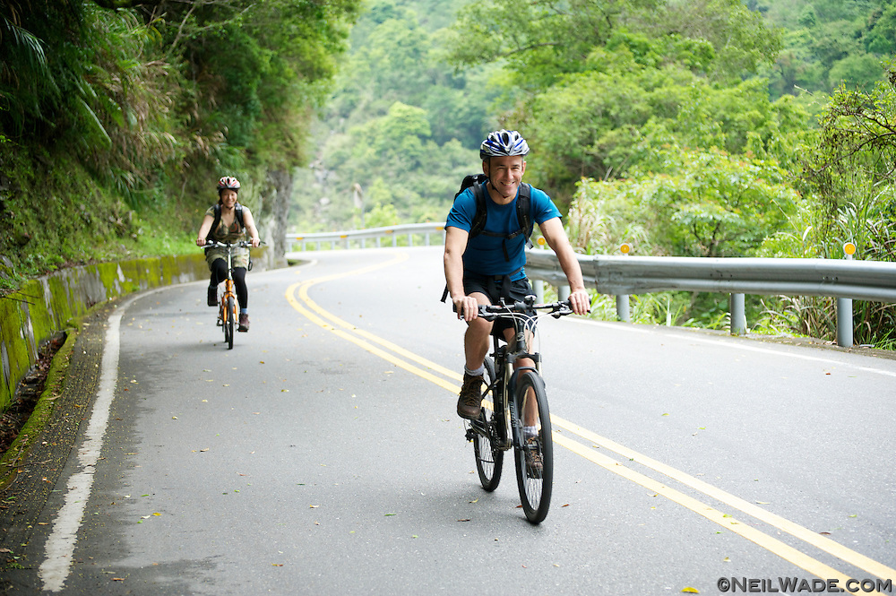Bicycling through  in Taroko National Park, Taiwan.