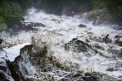 THEMENBILD - der Hochwasserführende Kalserbach nach den Unwettern der letzten Tage. Aufgenommen am 14. Juli 2016 in Kals am Grossglockner // A flood leading river after the storms of recent days. Recorded on July 14, 2016 Kals am Grossglockner. Austria. EXPA Pictures © 2015, PhotoCredit: EXPA/ Johann Groder