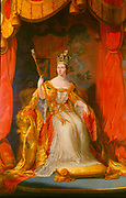 Victoria (1819-1901) Queen of Great Britain from 1837. Victoria in here coronation robes. Artist, Sir George Hayter.