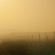 Powerlines along highway. Baja California Sur, Mexico.