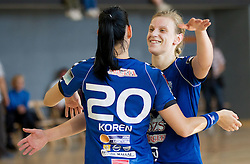 Alja Koren and Barbara Varlec Lazovic celebrate after the last game of 1st A Slovenian Women Handball League season 2011/12 between ZRK Krka and RK Krim Mercator, on May 8, 2012 in Stopice at Novo mesto, Slovenia. RK Krim Mercator became Slovenian National Champion, GEN-I Zagorje placed second and ZRK Krka placed third. (Photo by Vid Ponikvar / Sportida.com)