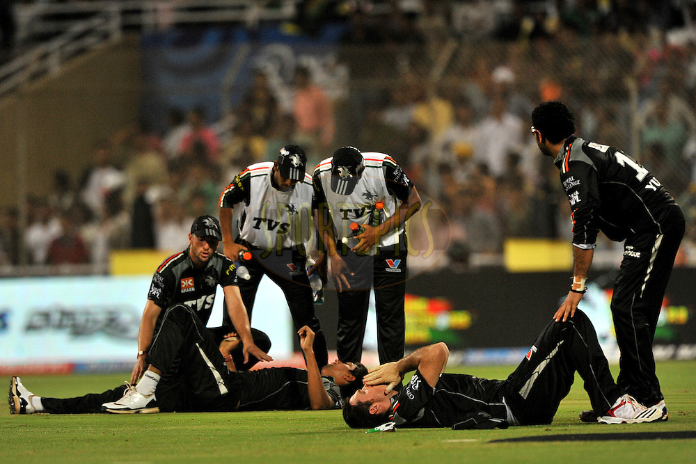 Graeme Smith of Pune Warriors India and Rahul Sharma of Pune Warriors India react in pain after their collide during  match 10 of the Indian Premier League ( IPL ) Season 4 between the Pune Warriors and the Kochi Tuskers Kerala held at the Dr DY Patil Sports Academy, Mumbai India on the 12th April 2011..Photo by Pal Pillai /BCCI/SPORTZPICS