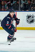KELOWNA, BC - MARCH 7: Calen Addison #2 of the Lethbridge Hurricanes skates with the puck during third period against the Kelowna Rockets at Prospera Place on March 7, 2020 in Kelowna, Canada. Addison was selected in the 2018 NHL entry draft by the Pittsburgh Penguins. (Photo by Marissa Baecker/Shoot the Breeze)