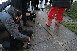© Under licence to London News Pictures. 27/01/2016. Karen Routh being interviewd by the media after dropping her daughter off at Skerne Park Acadamy in Darlington in her pyjamas. The head teacher sent out a letter to asking parents not to wear pyjamas to drop their children off at school. Photo Credit: Stuart Boulton/LNP