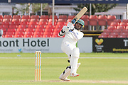 Hassan Azad pulls the ball during the Specsavers County Champ Div 2 match between Leicestershire County Cricket Club and Lancashire County Cricket Club at the Fischer County Ground, Grace Road, Leicester, United Kingdom on 26 September 2019.