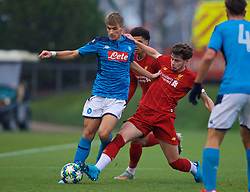 KIRKBY, ENGLAND - Wednesday, November 27, 2019: Georgios Vrakas (L) is challenged by Liverpool's Neco Williams during the UEFA Youth League Group E match between Liverpool FC Under-19's and SSC Napoli Under-19's at the Liverpool Academy. (Pic by David Rawcliffe/Propaganda)
