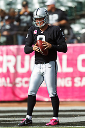 OAKLAND, CA - OCTOBER 21: Punter Shane Lechler #9 of the Oakland Raiders warms up before the game against the Jacksonville Jaguars at O.co Coliseum on October 21, 2012 in Oakland, California. The Oakland Raiders defeated the Jacksonville Jaguars 26-23 in overtime. Photo by Jason O. Watson/Getty Images) *** Local Caption *** Shane Lechler
