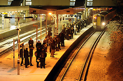 © under license to London News Pictures. 30.11.2010 Early morning commuters (6.30) at Sevenoaks train station today brave the snow and the cold to get  a train to London. Picture credit should read Grant Falvey/London News Pictures