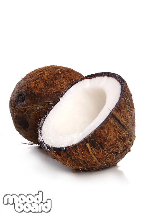 Coconut on white background - close-up