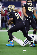 New Orleans Saints defensive end Cameron Jordan (94) celebrates after sacking the quarterback for a loss of one yard at the Dallas Cowboys 5 yard line during the NFL week 13 regular season football game against the Dallas Cowboys on Thursday, Nov. 29, 2018 in Arlington, Tex. The Cowboys won the game 13-10. (©Paul Anthony Spinelli)