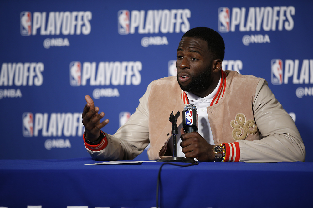 during a news conference following Game 2 of the NBA Western Conference semifinals between the Golden State Warriors and New Orleans Pelicans at Oracle Arena, Tuesday, May 1, 2018, in Oakland, Calif.